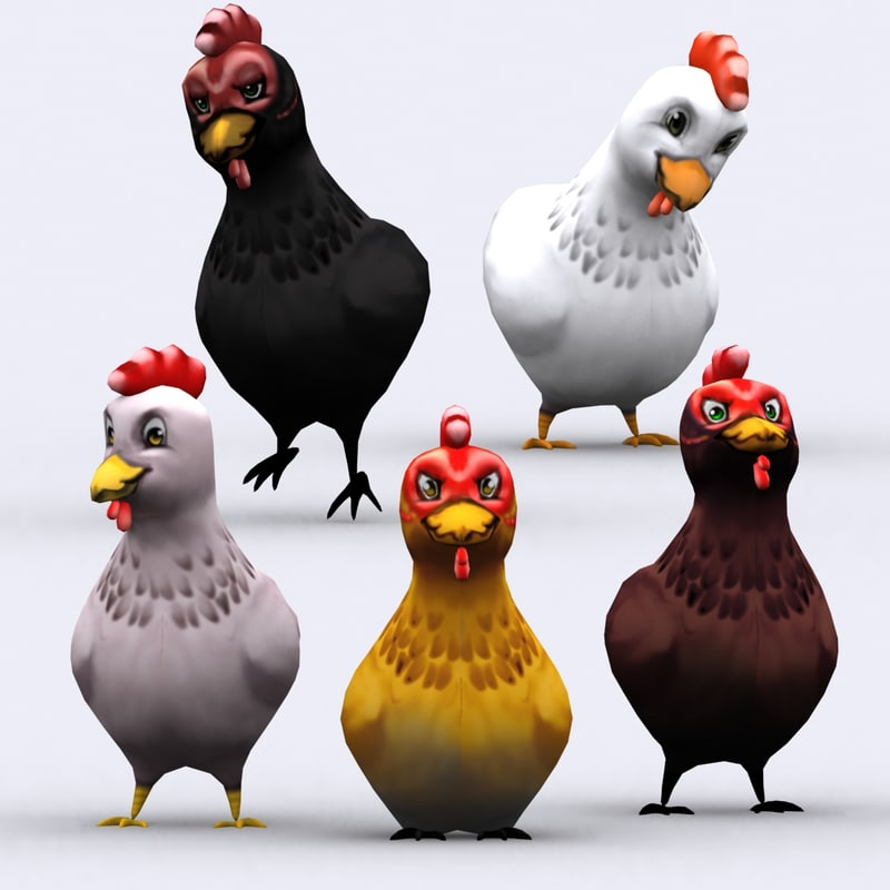 3d chibii - chicken animals