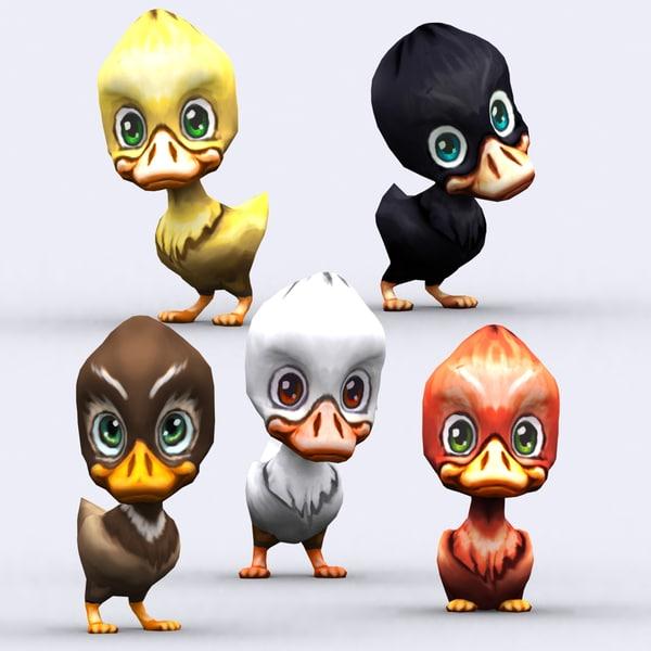 chibii - duck animals 3d 3ds