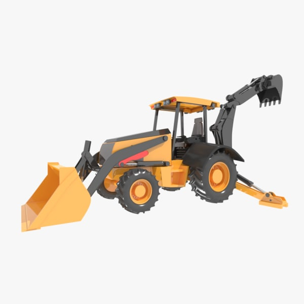 3ds max backhoe loader heavy equipment