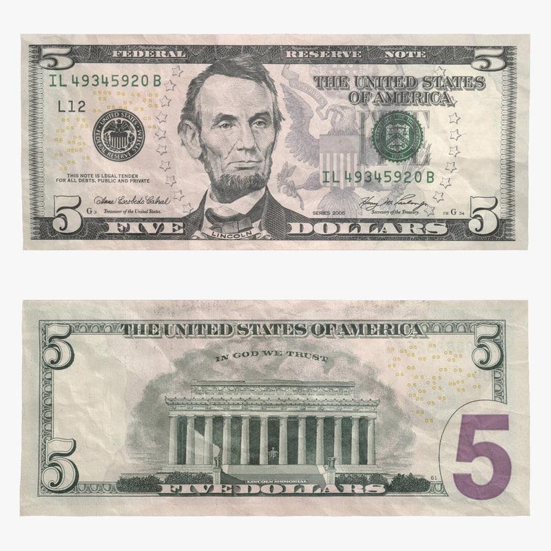 dollar bill 3d model