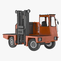 3d loading forklift truck rigged model