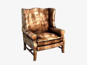 pottery barn leather armchair 3d model