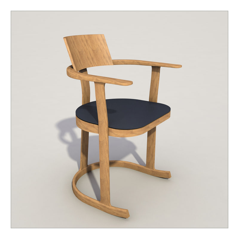 3d wooden library chair seat