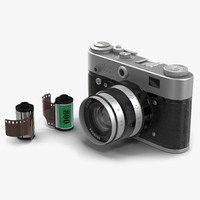 Vintage Film Camera Fed 3 3D Models Set