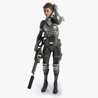 Cyberpunk female character