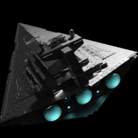 Star Wars Imperial Star Destroyer Highly Detailed with Lights and Textures.