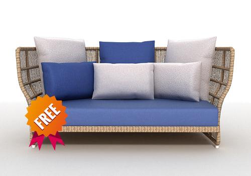 free sofa canasta 3d model