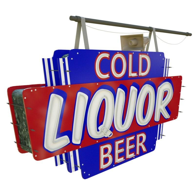 liquors store sign 3d lwo