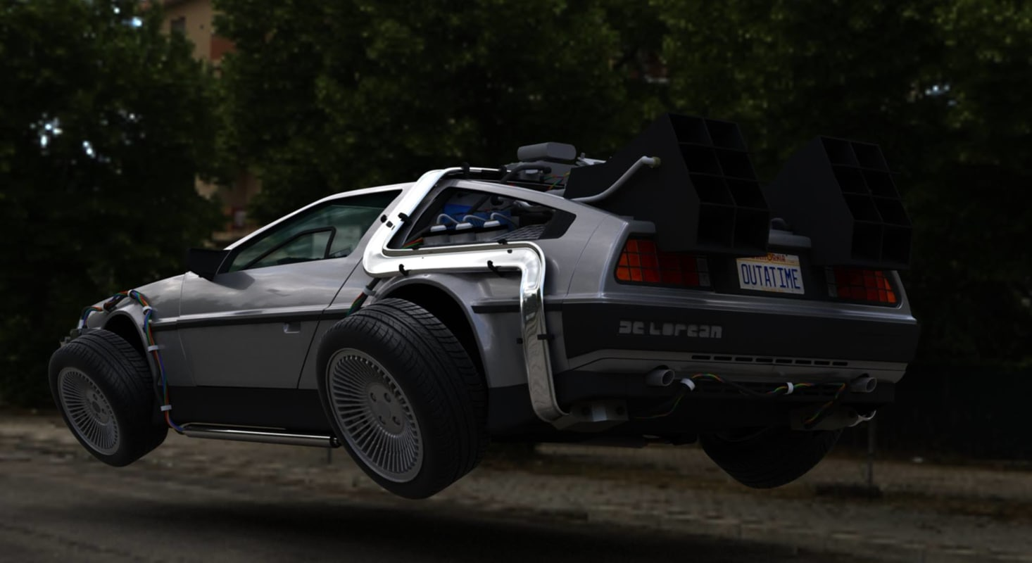 3d future delorean time machine