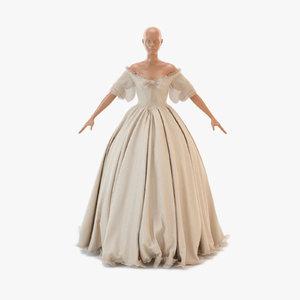 3d model victorian dress