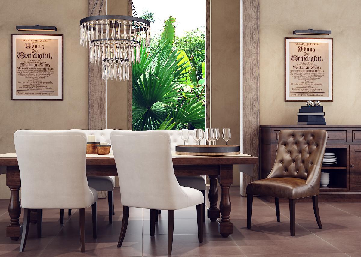 3d rustic dining room