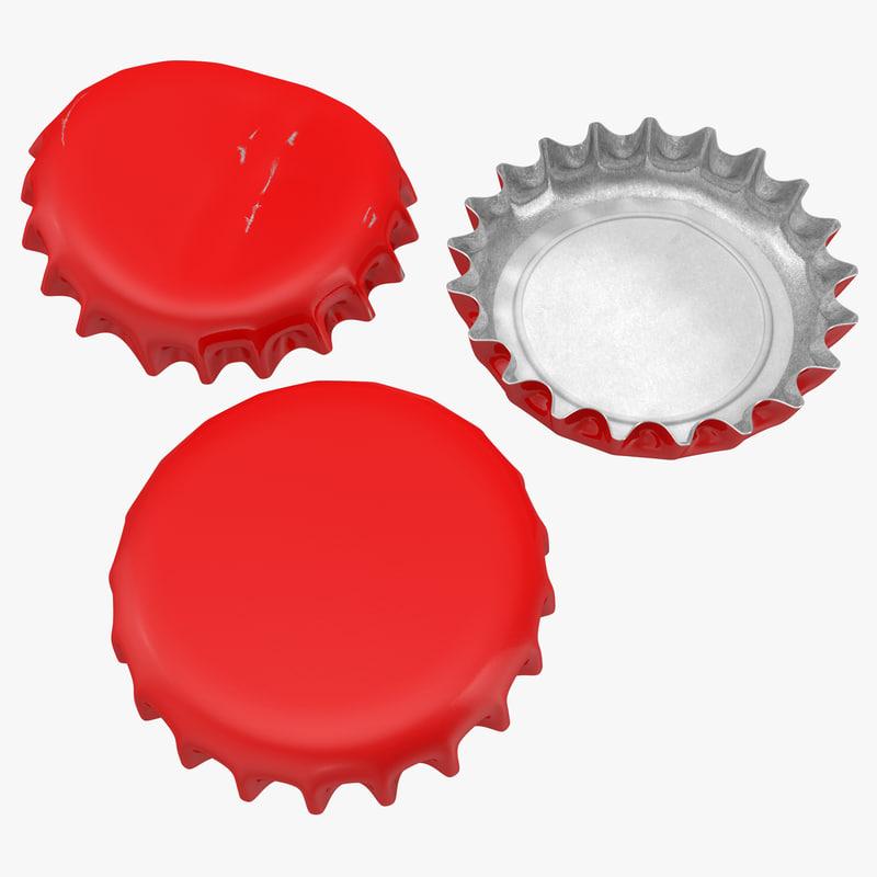 bottle caps modeled 3d model