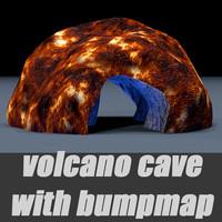 3d cave volcano