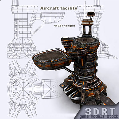 sci-fi - aircraft facility 3d model