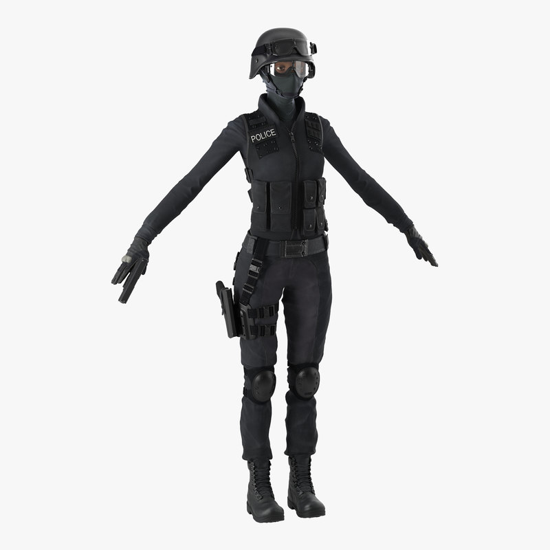 3ds max swat woman afro american