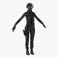 3d model swat woman modeled