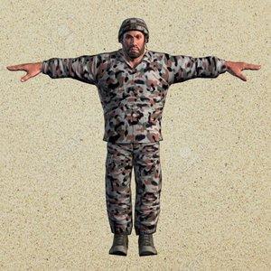 militar rigged 3d model