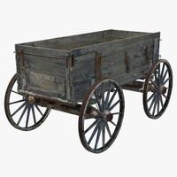 old wooden wagon 2 3d max