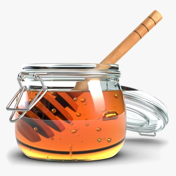 glass jar honey dipper 3d 3ds