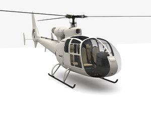 3d model gazelle helicopter