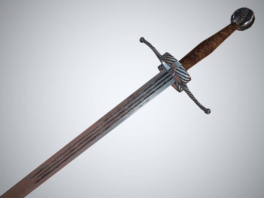 3d model realistic bastard sword games