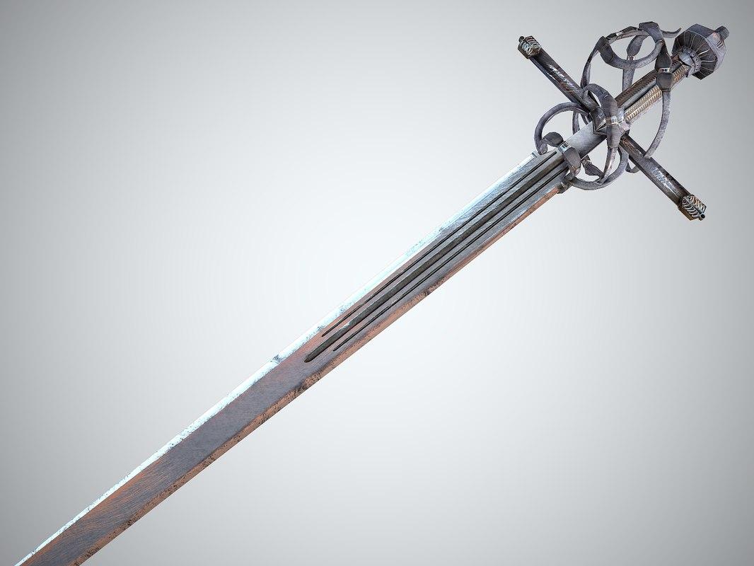 3d model realistic venetian sword