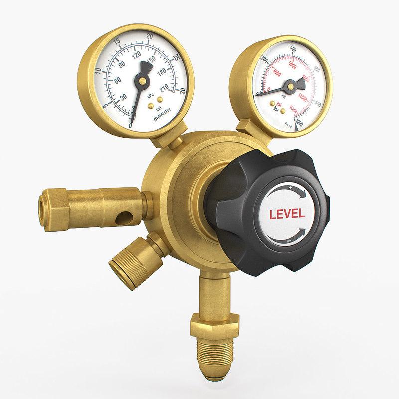 3d model gauge pressure gas