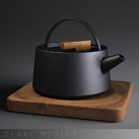 japanese iron kettle set 3d model