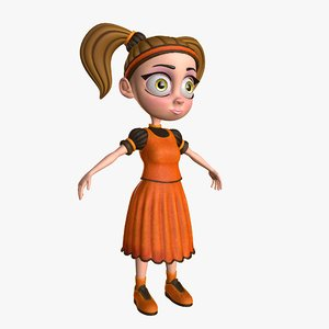 maria little cartoon girl 3d model