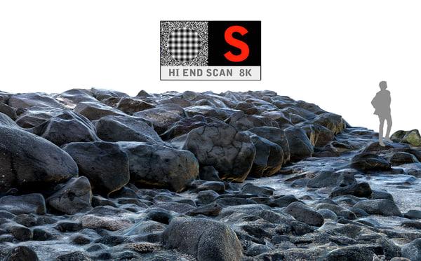 stone breakwater hd 8k 3d obj
