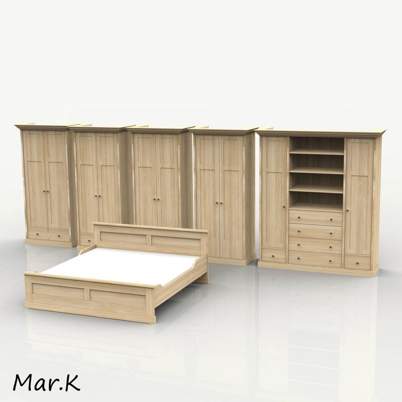 wardrobe double bed 3d model