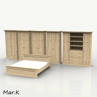 wardrobe double bed 3d model