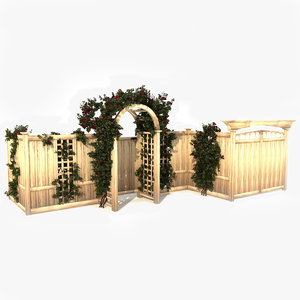 3d model fence roses
