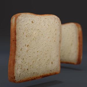 3d model toast slice bread