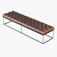 3d model of brown leather banquette eich