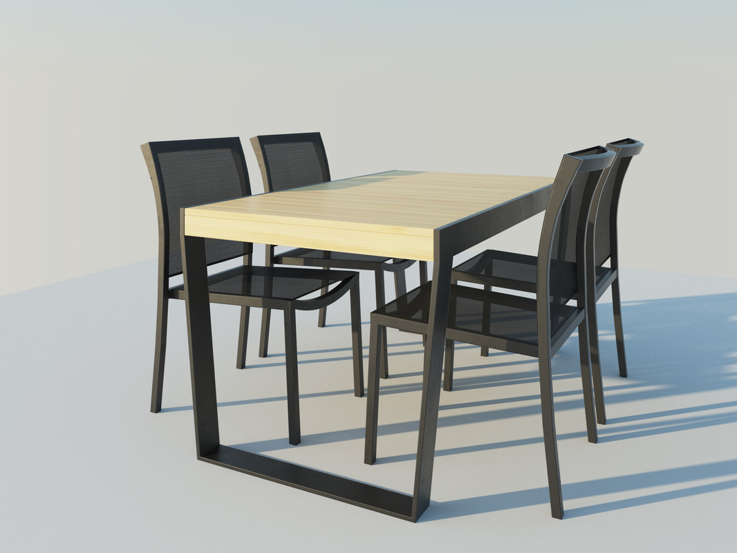table chairs 3d 3ds