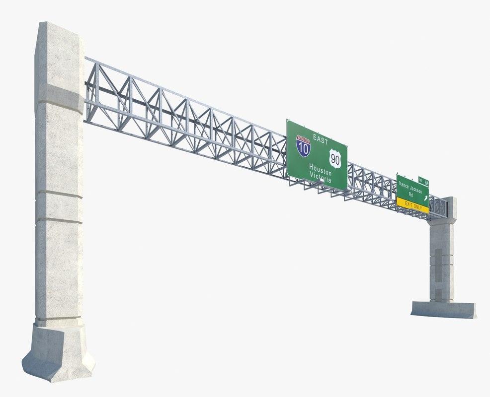 highway sign - 3d obj