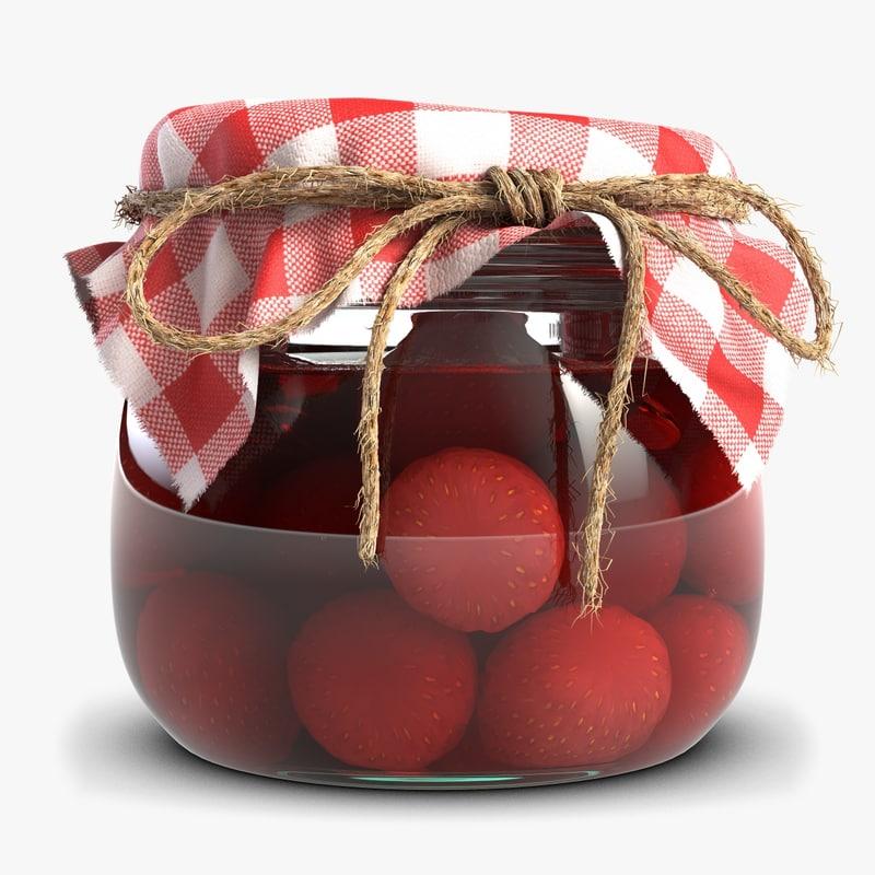 obj strawberry jam glass jar