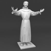 Saint Francis low poly statue