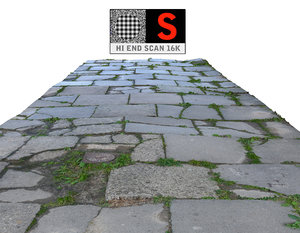3d sidewalk pavement scanned model