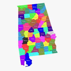 alabama counties 3d model