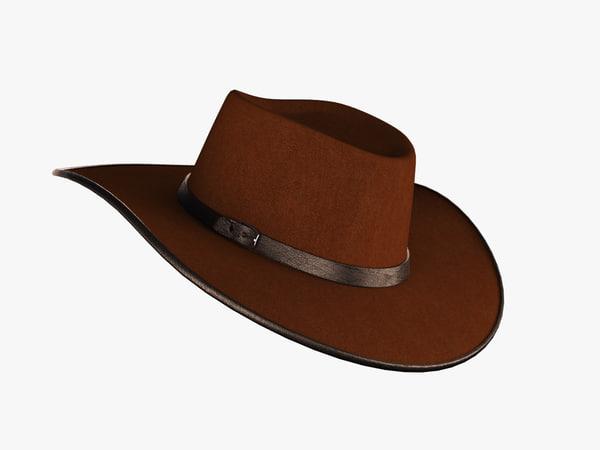 3d cowboy hat cow model