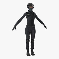 3d model swat woman 3 modeled