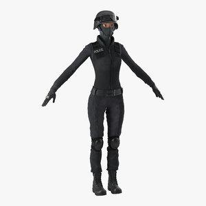 3d model swat woman 3 modeled