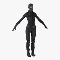 swat woman 4 modeled 3ds