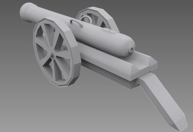 3d model historical cannon