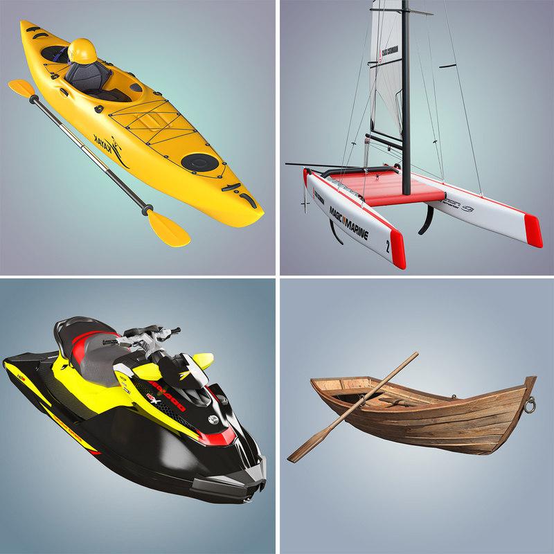 3d model boats kayak catamaran