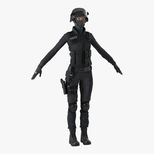 3ds swat woman 2 modeled