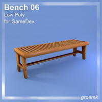 Bench #6 Low Poly for GameDev