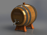 wooden barrel alcoholic iron 3d obj